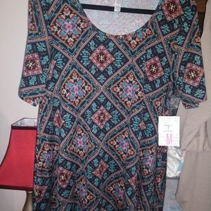 LulaRoe Perfect Tee, Medium, NEW, black, green